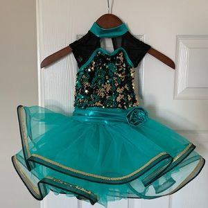 Sparkly green black gold tutu - toddler dance, XS